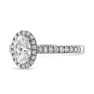 Pre-Owned Platinum Oval Diamond Halo Cluster Ring