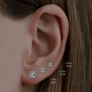18ct White Gold 1.14ct Princess Cut Diamond Earrings