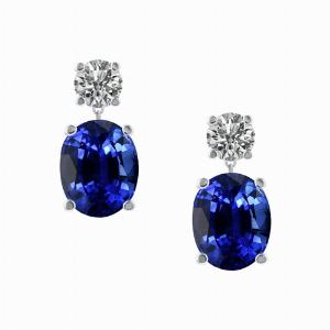 Oval Sapphire & Round Brilliant Cut Diamond Drop Earrings