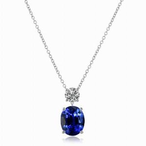 Oval Sapphire & Round Brilliant Cut Diamond Pendant