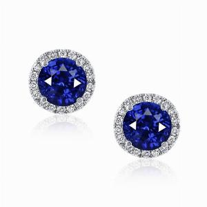 Sapphire & Diamond Micro Set Halo Stud Earrings