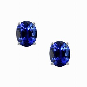 1.00ct Oval Blue Sapphire 18ct White Gold Stud Earrings