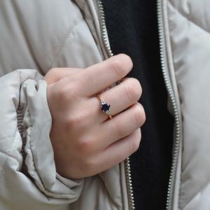 18ct Yellow Gold Sapphire & Diamond Trilogy Ring