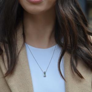 18ct White Gold Emerald & Diamond Square Cluster Pendant
