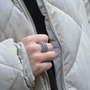 18ct White Gold Sapphire & Diamond Dome Ring