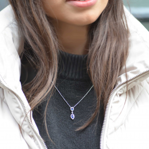 18ct White Gold Sapphire & Diamond Marquise Pendant