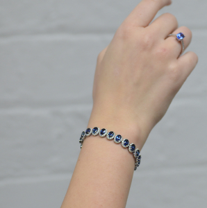 18ct White Gold 16ct Sapphire Cluster Bracelet
