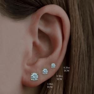 1.00ct Round Brilliant Cut Diamond Yellow Gold Stud Earrings