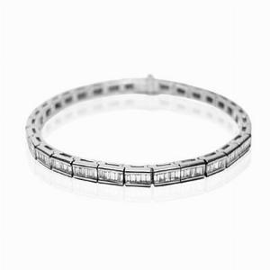 Channel Set Baguette Cut Diamond Line Bracelet