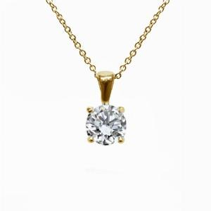 18ct Yellow Gold 1.00ct Brilliant Cut Four Claw Diamond Pendant G SI1