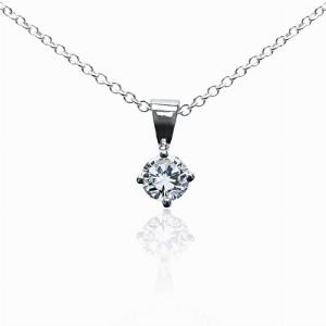 18ct White Gold 0.15ct Brilliant Cut Four Claw Diamond Pendant G SI1