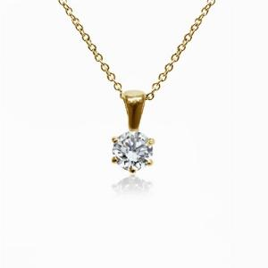 18ct Yellow Gold 0.15ct Brilliant Cut Six Claw Diamond Pendant G SI1