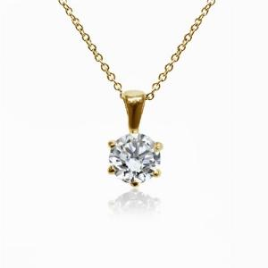 18ct Yellow Gold 1.00ct Brilliant Cut Six Claw Diamond Pendant G SI1