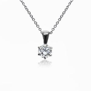 18ct White Gold 0.15ct Brilliant Cut Six Claw Diamond Pendant G SI1