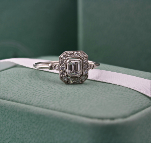 0.45ct Vintage Emerald Cut Diamond Cluster Ring