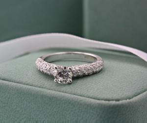 Brilliant Cut Solitaire Pave Set Engagement Ring - 0.60ct