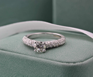 Brilliant Cut Solitaire Pave Set Engagement Ring - 0.60ct