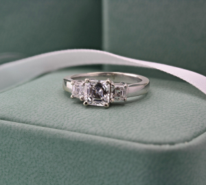 Asscher Three Stone Diamond Ring - 1.30ct Approx