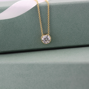 18ct 0.90ct Rub-over Solitaire Pendant