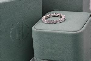LUCCA Claw Set Brilliant Cut Full Diamond Wedding Rings