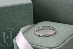 CAPRI Channel Set Carre Cut Diamond Half Eternity Ring Lifestyle