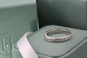 FLORENCE Channel Set Princess Cut Half Diamond Wedding Rings