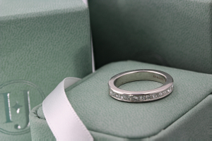 FLORENCE Channel Set Princess Cut Half Commitment Rings