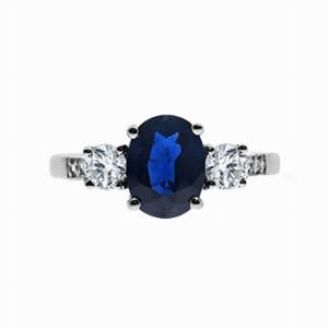 Platinum Vintage Oval Sapphire & Diamond Three Stone Engagement Ring - 1.50ct