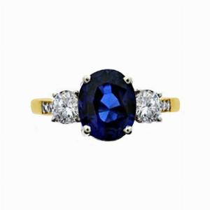 Vintage Oval Sapphire & Diamond Three Stone Engagement Ring - 2.00ct