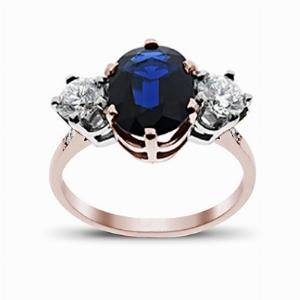 Sapphire & Diamond Rose Gold Three Stone Ring 12 x 10 mm